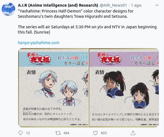 La secuela de Inuyasha muestra diseños de hijas de Sesshomaru