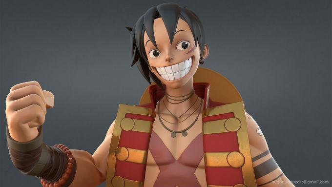 Luffy por artista que hiz oa Jiraoya en Fortnite