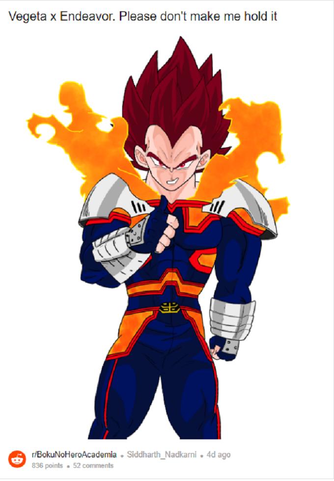 My Hero Academia fusion de endeavor y Vegeta de Dragon ball