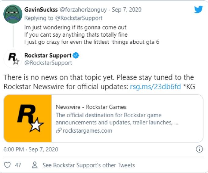 GTA 6 respuesta en Twitter