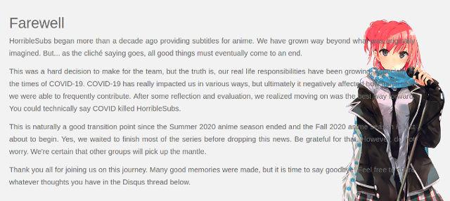El sitio de anime pirata HorribleSubs murió debido al coronavirus