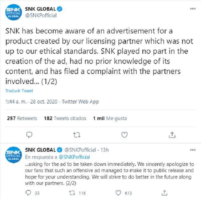 SNK Respondio a las criticas