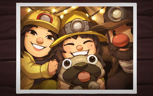 Personajes de Spelunky 2 en una fotografía dentro del juego