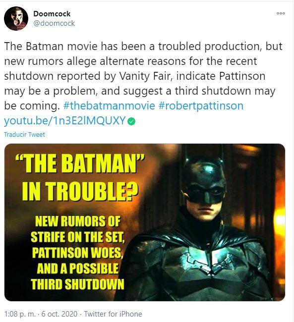 Robert Pattinson es el problema en el set de The Batman.
