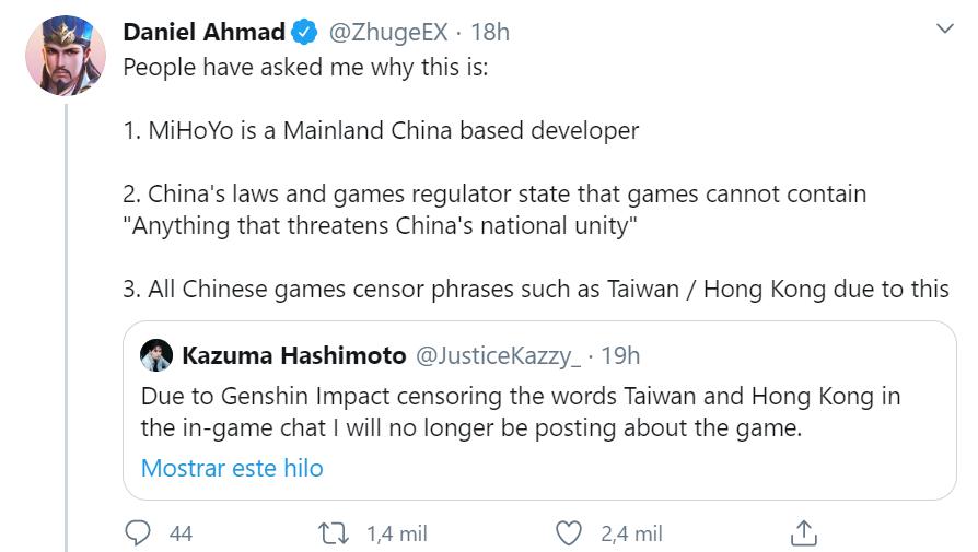 Genshin Impact censurra