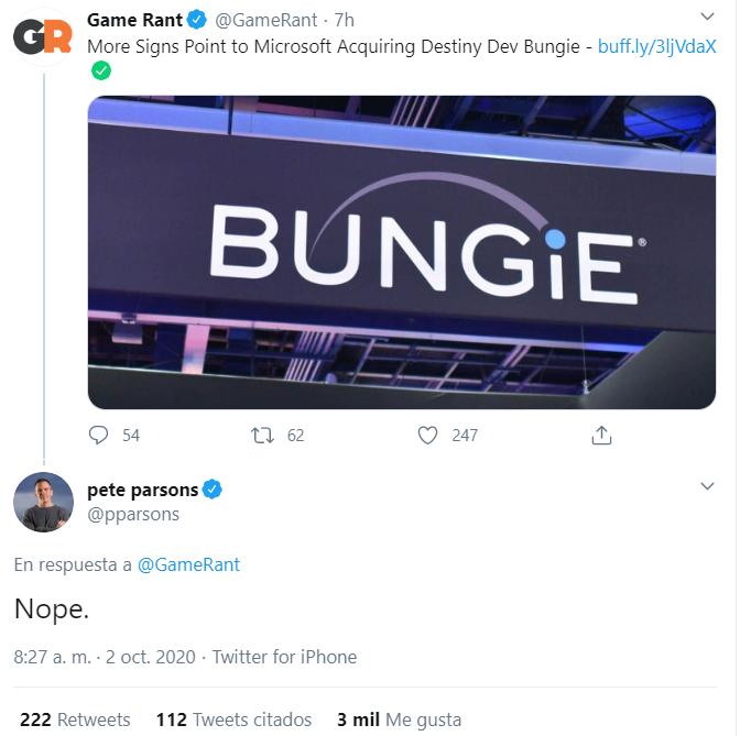 El rumor de la compra de Bungie por parte de Microsoft es falso.