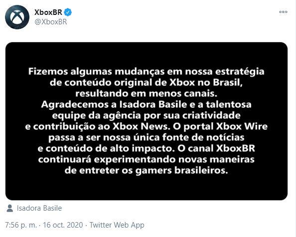 La respuesta de Xbox Brasil ante el despido de Basile.