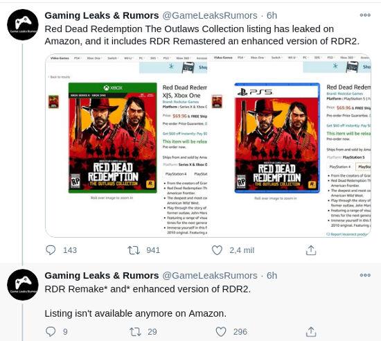 Red Dead Redemption y su secuela llegarán a PS5 y Xbox Series X