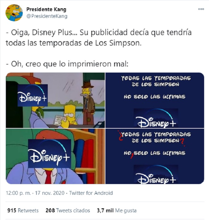 Meme de que Los Simpson no estan en Disney Plus