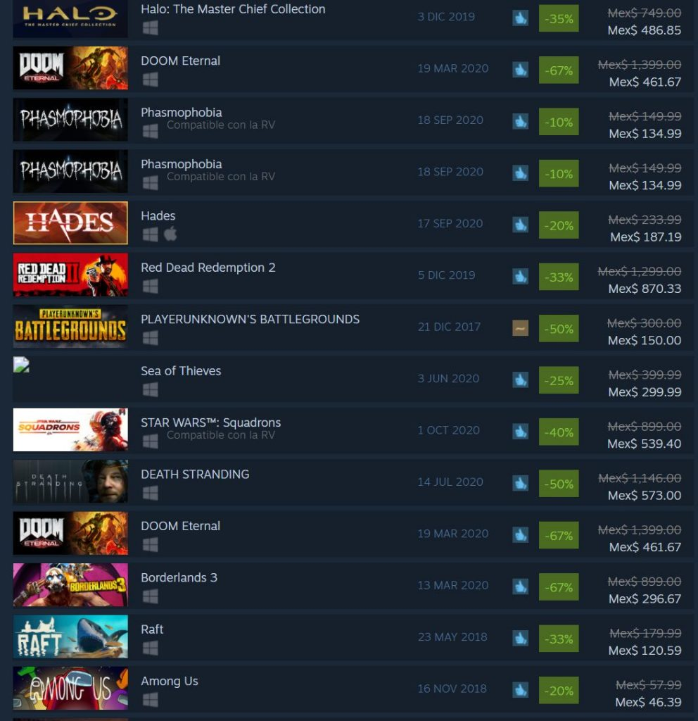 Among Us ventas Steam
