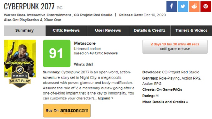 Cyberpunk 2077 calificacion Metacritic