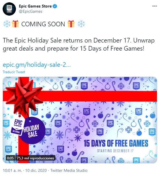 Epic Games Store, juegos gratis por Navidad 2020.