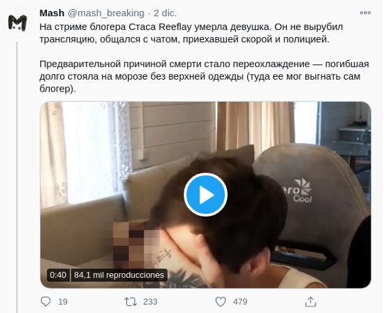 Youtuber ruso provoca muerte de su novia y siguió transmitiendo