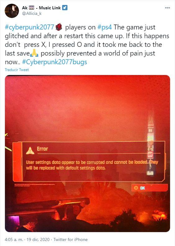 Cyberpunk 2077 archivo corrupto