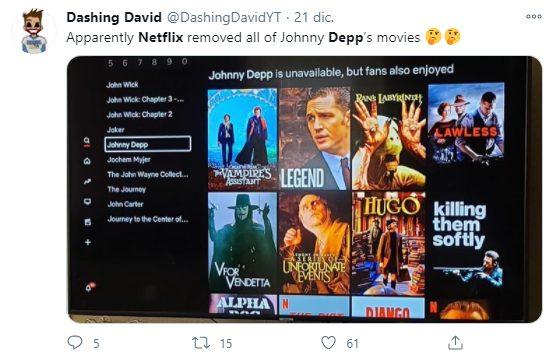 Netflix elimina todo el contenido con Johnny Depp de su plataforma