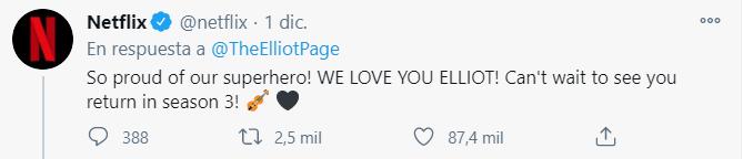 Elliot Page, comentarios de apoyo.