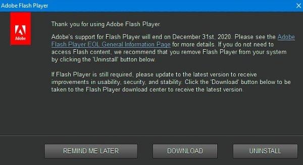 Adobe Flash Player dice adiós con el 2021