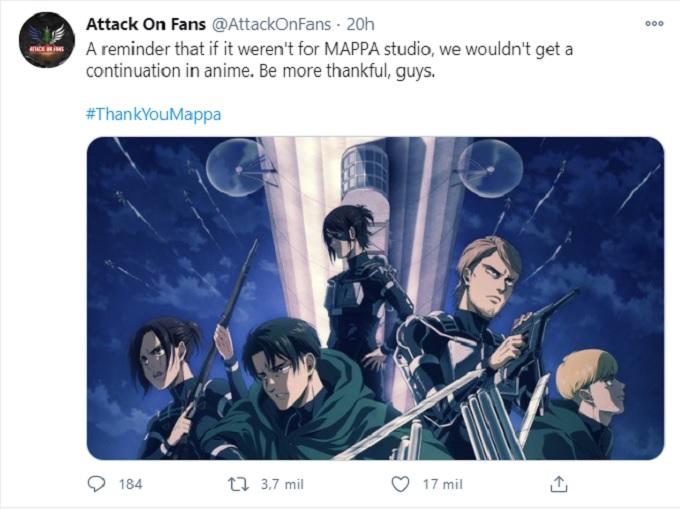 Comentarios de fans en defensa de Attack on Titan.