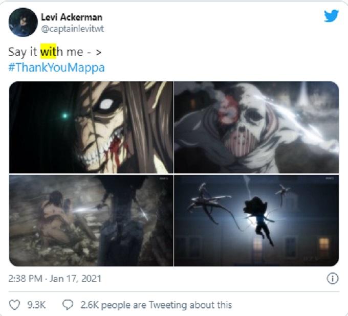 Comentario de Twitter en defensa de Attack on Titan