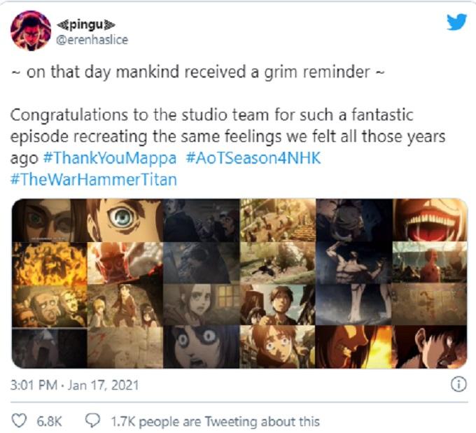 Attack on Titan collage en Twitter