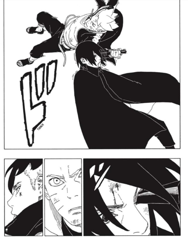 Boruto apuñala a Sasuke para quitarle el rinnegan.