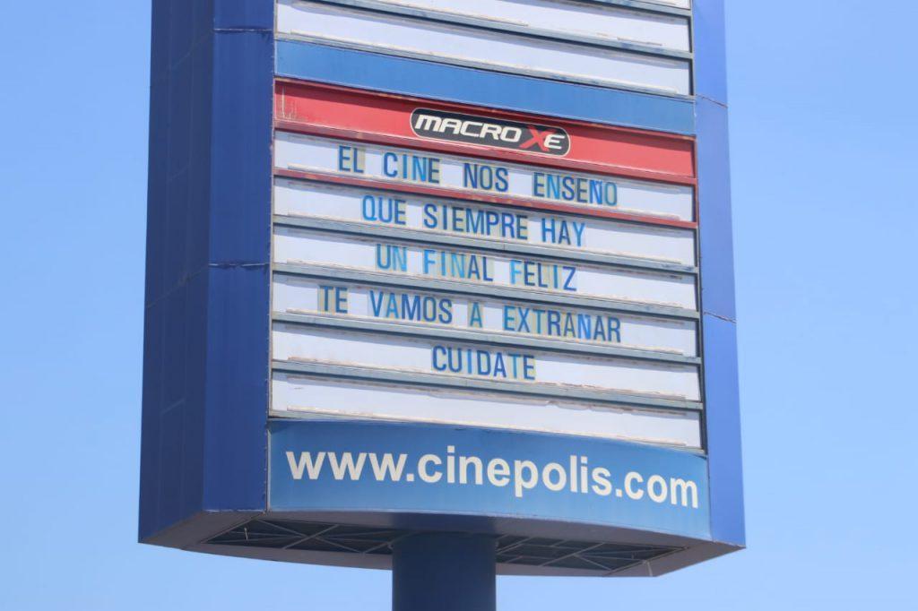 Mensaje de los cines Cinepolis por cierre