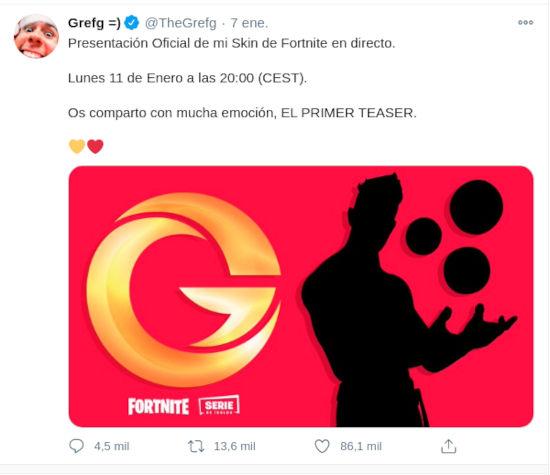 TheGrefg tendrá su apariencia en Fortnite