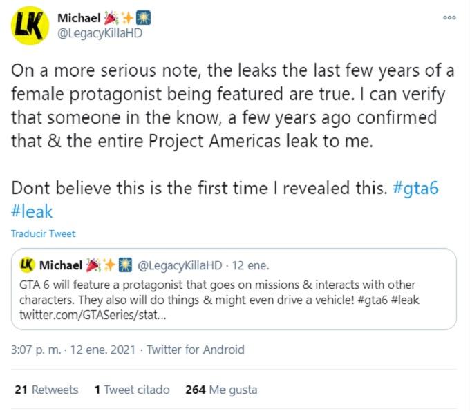 Tweet en donde se habla de los protagonistas de GTA 6.