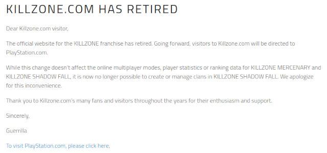 El sitio de Killzone se desvanece y preocupa a los fans