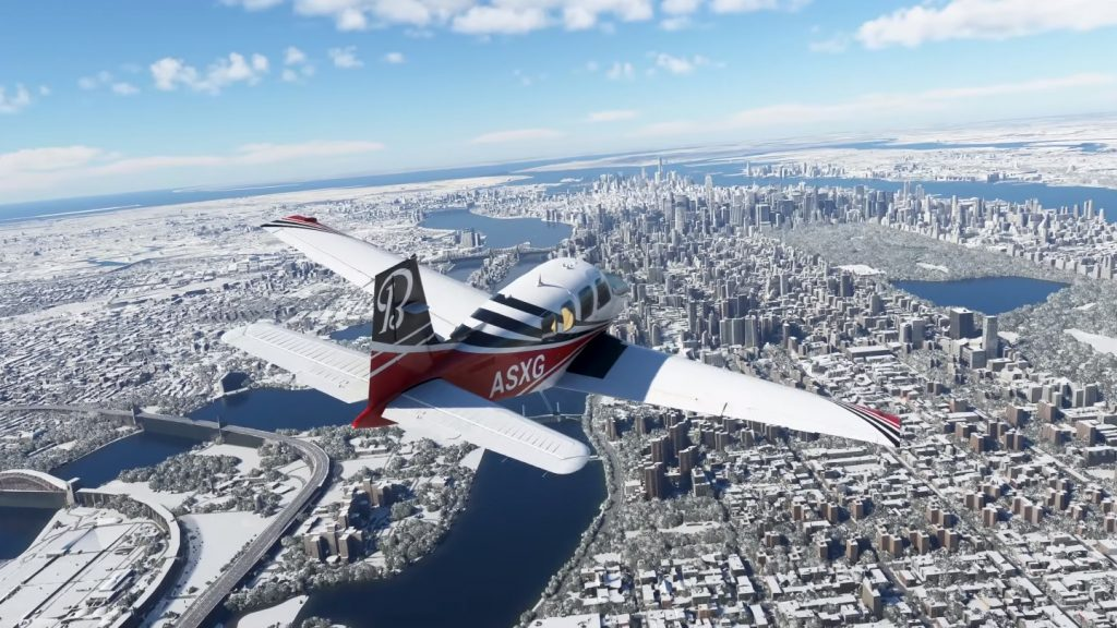 Snowy landscape in Microsoft Flight Simulator.