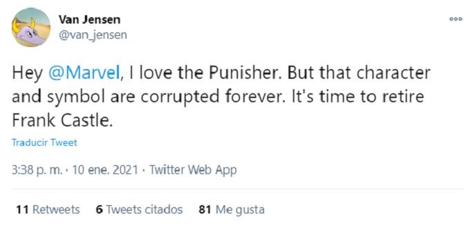 Comentario que habla sobre retirar a Punisher de Marvel.