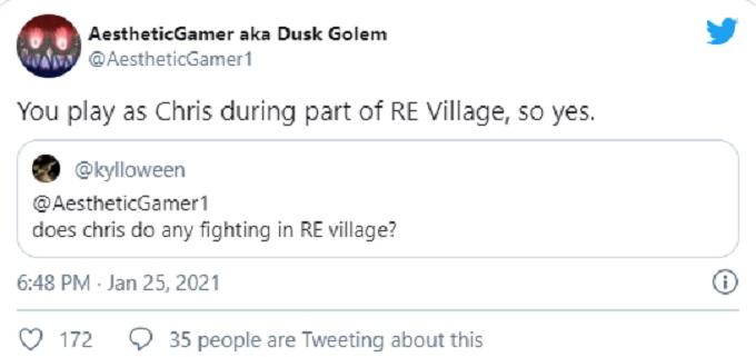 Tweet sobre Chris en Resident Evil 8