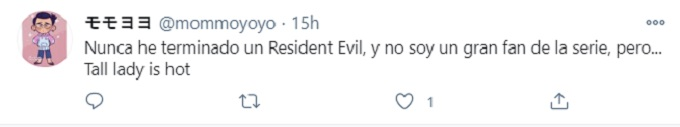 Comment on Twitter about Villains from Resident Evil