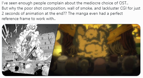 Fans de Shingeki no Kyojin se quejan del director, la animación y la música.