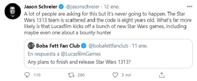 Tweet de Jason Schreier sobre el próximo juego de Star Wars.