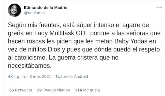 Rosca de Reyes enoja a religiosos por Baby Yoda y The Mandalorian