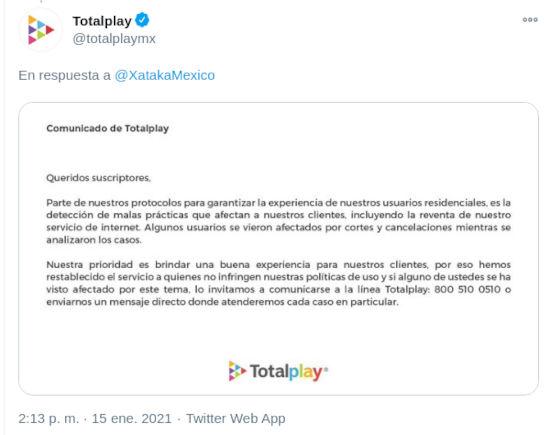 Totalplay regresa servicio a usuarios en México