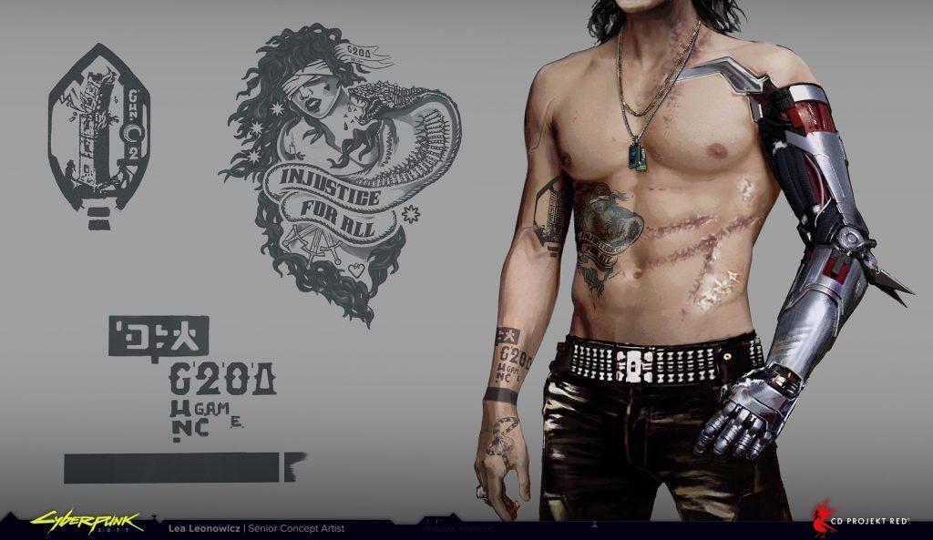 johnny silverhand, cyberpunk 2077, diseño, boceto, tatuaje