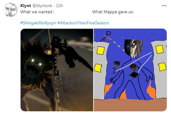 Nuevamente algunos usuarios llenaron las menciones de Studio MAPPA quejándose de la animación del nuevo titán y el uso de CGI.