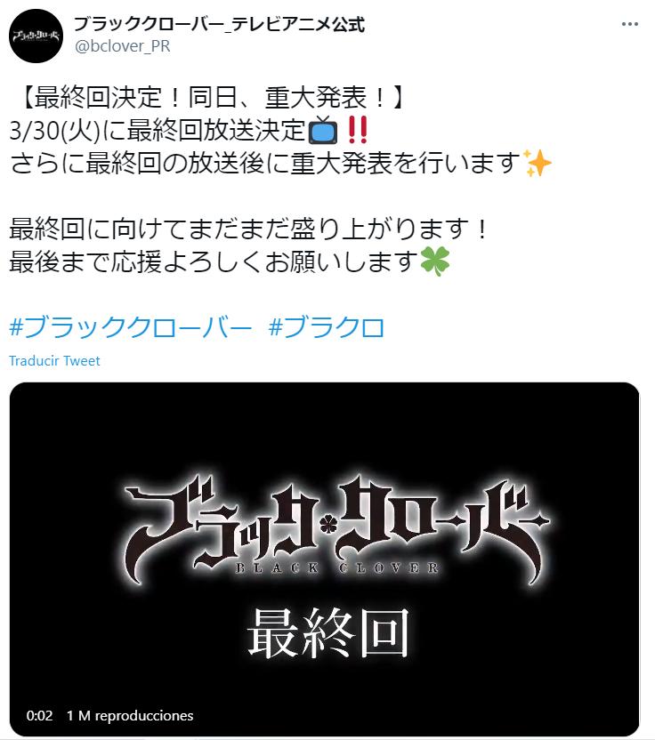El anime de Black Clover ya tiene fecha oficial para la emisión del último capítulo este marzo 2021, y los fans no saben qué pensar.