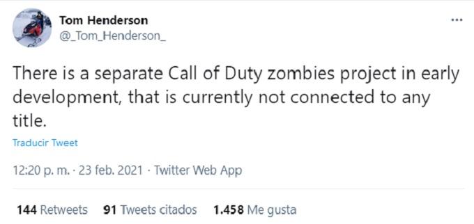 Tweet sobre un juego de zombies de Call of Duty
