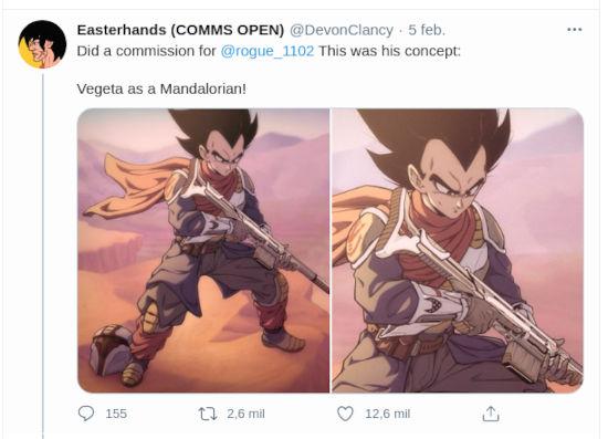 Dragon Ball Z y The Mandalorian unidos en un diseño