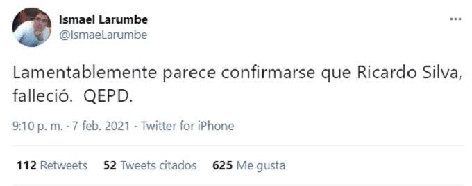 Mensaje de Ismael Larumbe por muerte de Ricardo Silva