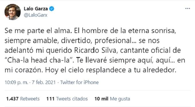 mensaje de Lalo Garza por la muerte de Ricardo Silva