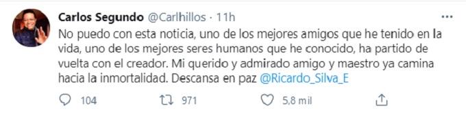 Mensaje de Carlos segundo por la muerte de Ricardo Silva