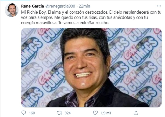 mensaje de Rene Garcia por muerte de Ricardo silva