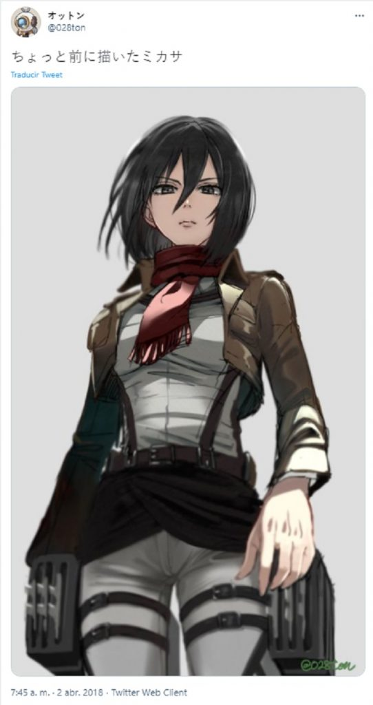 illustration of Mikasa from Shingeki no Kyojin created by a Twitter artist
