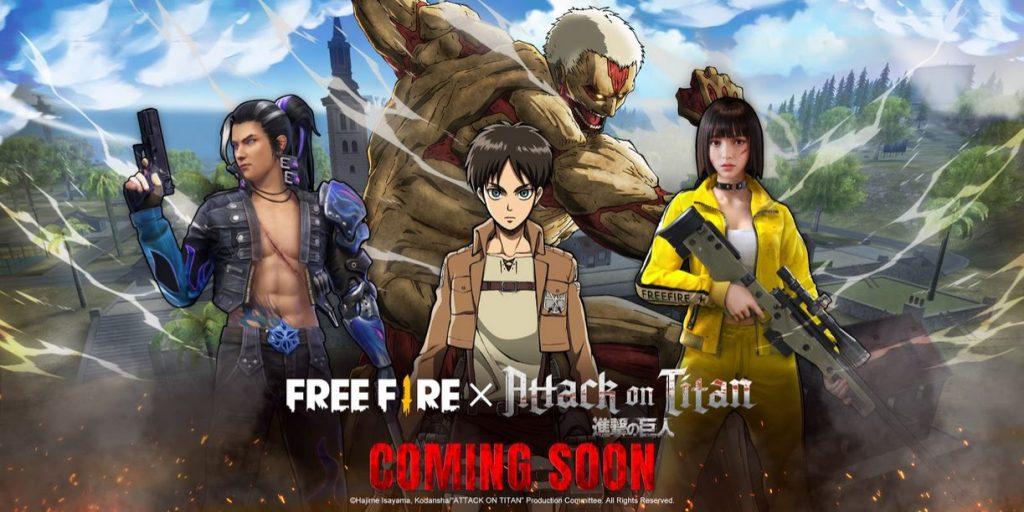 El poder de los titanes invade Free Fire con esta colaboración de Attack on Titan, el evento inicia en marzo y habrá bastantes coleccionables.