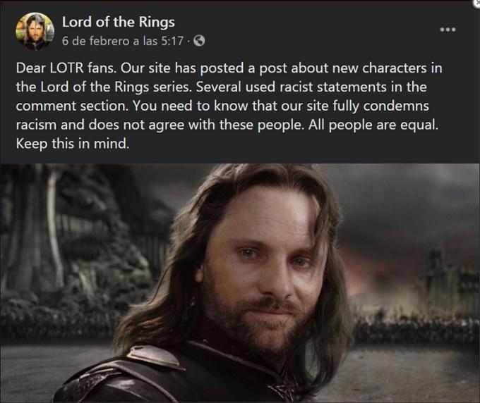 señor de los anillos mensaje de fans por recismo