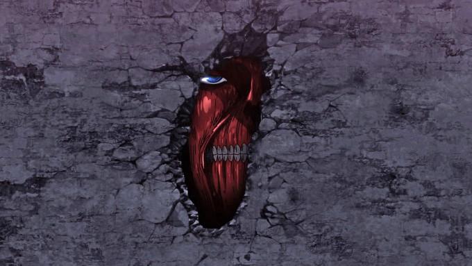 Shingeki no Kyojin Titan en la muralla